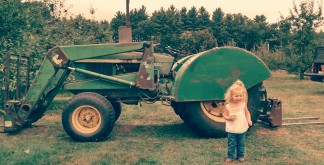 Apple picking one day after speech therapy--- she loves the tractors out in the fields