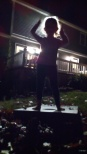 Nighttime leaf jumping- this is the night we got the pizza and ate out here in the dark!