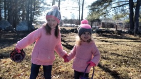 Easter Egg Hunt #1 In atching sweaters made by my Nanny for Mel and I over 30 years ago!!