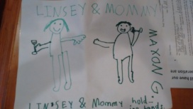 drawing by Mel's oldest, Maxon, love that Mel is holding a wine glass, lol